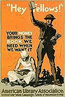 ERZAN大人のパズル1000Hey Fellows Your Money Brings Books WPA War減圧ジグソーおもちゃキッズギフト