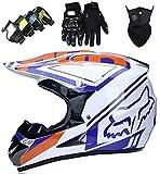 XYYMC Cascos de Motocross Niño con Diseño Fox Casco de Cross de Moto Set con Gafas/Máscara/Guantes, Casco de Descenso BMX MX ATV MTB de Integral, Blanco (XL)