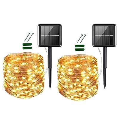 Upoom [2 Pack] Solar Fairy Lights, 100 LED Outdoor Solar String Lights Garden Copper Wire Decorative Lights 33Ft Waterproof Indoor Outdoor Lighting for Garden, Patio, Yard, Christmas