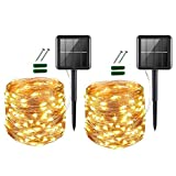 [2 Pack] Upoom Solar String Lights, 200 LED Outdoor Solar Fairy Lights Garden Copper Wire Decorative Lights 66Ft Waterproof Indoor Outdoor Lighting for Garden, Patio, Yard, Christmas