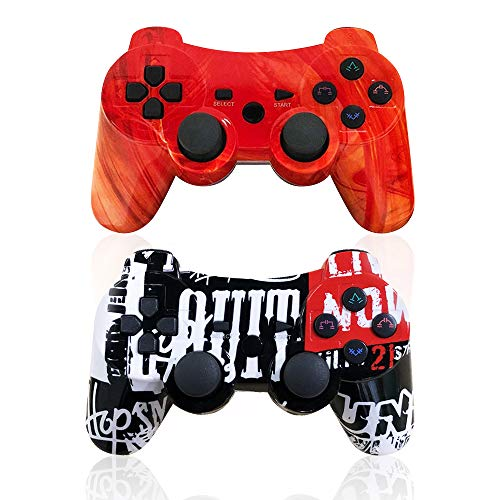 CHENGDAO PS3 Controller 2 Pack Wireless 6-axis Dual Shock Gaming Controller for Playstation 3 with Charging Cord (PS3 Controller 2Pack,Graffiti + Red Canyon)
