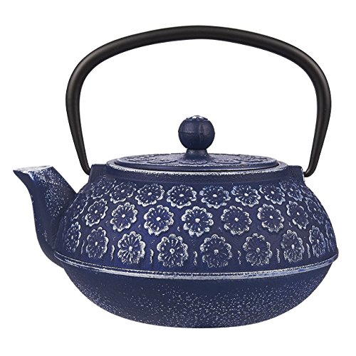 Juvale Blue Floral Cast Iron Teapot Kettle with Stainless Steel Infuser 34oz