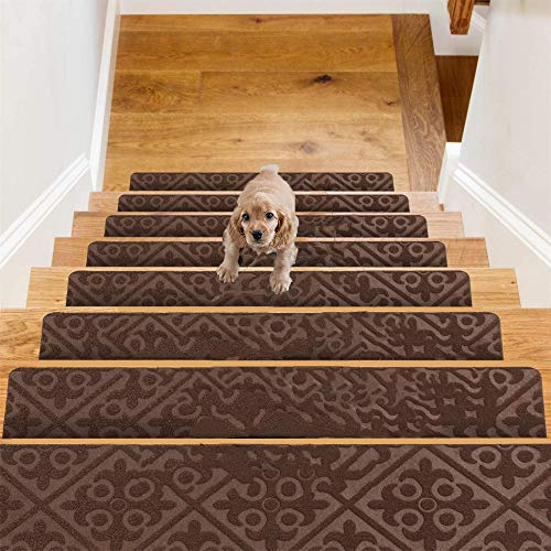D L D Carpet Stair Treads, Set of 14 Stair Grips Tape, 8'x30' Safety Staircase Step Treads for Kids Elders Pets, Non-Slip Strips Stair Traction Treads, Stair Runner for Indoors & Outdoors (Brown)