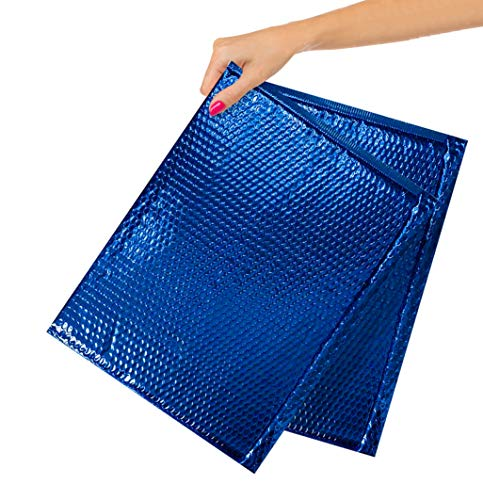 50 Pack Blue Metallic Bubble Mailers 12.75 x 10.5 Folder Size Padded Envelopes 12 3/4 x 10 1/2 Large Glamour Bubble Mailers Peel and Seal Padded Mailing Envelopes for Shipping Packing Packaging