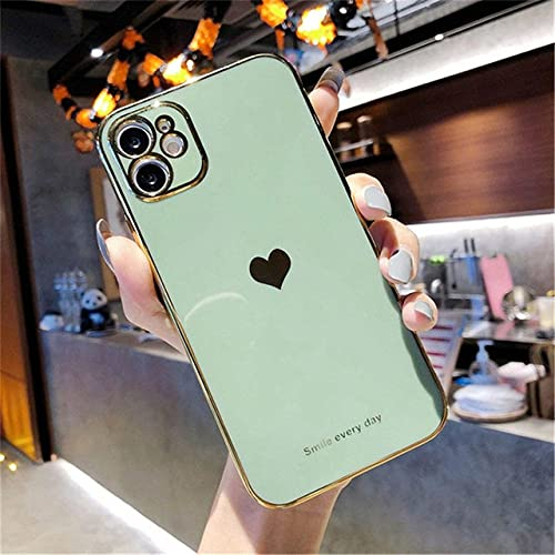 Carcasa para teléfono Solid Love Heart para iPhone 12 11Pro MAX Mini protección de cámara X XS XR SE 2020 7 8 Plus Carcasa Trasera de Silicona Suave TPU, Verde Claro, para iPhone 11 Pro