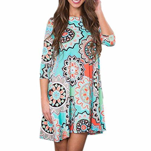 TUDUZ Frauen Sommer Vintage Boho Maxi Abend Party Kleid Elegant Strand Große Größen Blumenkleid (Blau, XXL)