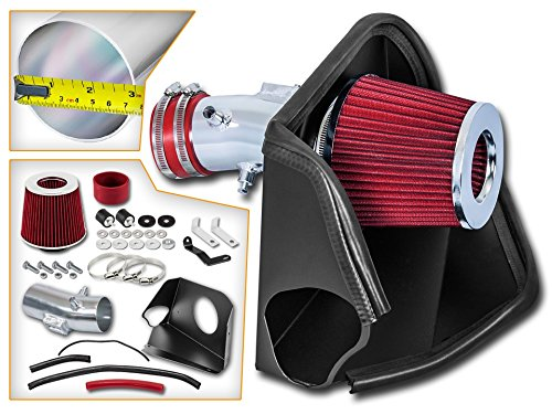 Cold Air Intake System with Heat Shield Kit + Filter Combo RED Compatible For 07-12 Nissan Altima 3.5L V6