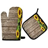 Juego de manopla y soporte para ollas de girasol en plancha Guante de cocina resistente al calor para cocinar, hornear, asar, barbacoa