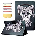 UUcovers Galaxy Tab A 8.0 2015 Case SM-T350/T355/P350/P355 with Auto Wake/Sleep Card Pockets Stand Smart PU Leather Folio Wallet Magnetic Cover for Samsung Tab A 8.0 T350/P350 Tablet, Gray Leopard