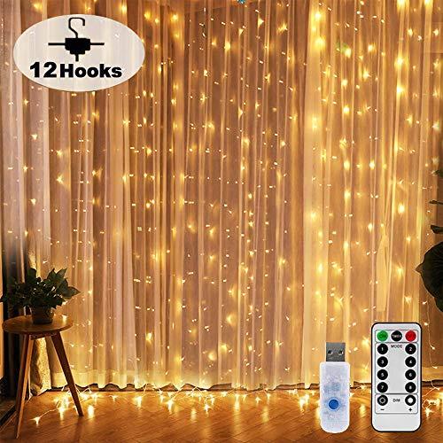 Nurkoo Lichtervorhang 3x3 M 300 LEDs Mit 12 Haken Lichtvorhang USB 8 Modi Lichterkette Wasserfall IP65 Wasserdicht Lichterkette Aussen für Die Dekoration Fenster Party Wand Hochzeit Weihnachten