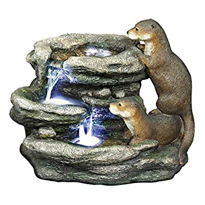 Design Toscano DW97060 Water Fountain with LED Light - Bright Waters Otters Garden Decor Fountain - Outdoor Water Feature,antique stone