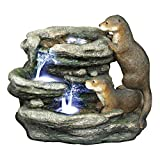 Water Fountain with LED Light - Bright Waters Otters Garden Decor Fountain