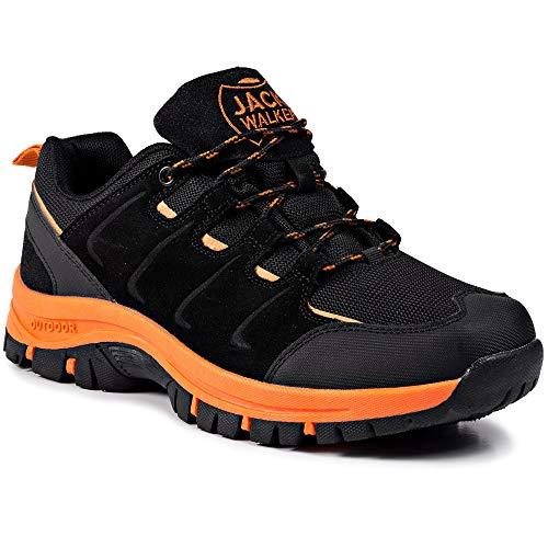 Zapatillas de Senderismo Trail Running para Hombre ultraligeras con ventilación de Baja Altura (43 EU, Naranja)