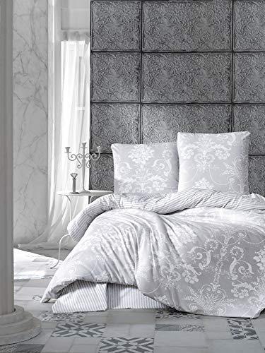 ZIRVEHOME Bettwäsche 135x200 cm 4 teilig Set. Grau/Weiß Baumwolle Bettbezug, Weiß Barock Muster, mit Reißverschluss und 2 mal 80x80 cm. Kissenbezuge, Alone V1