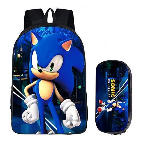 min min Sonic School Bag Sonic Decompression and Burden Relief Kindergarten Elementary and High School Large-capacity Double Shoulder School Bag Pen Case 2 Pieces/Set