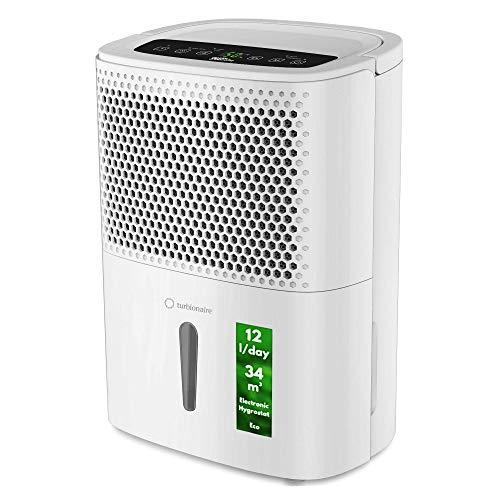 Turbionaire Smart 12 Eco Extrem leiser, intelligenter, tragbarer Luftentfeuchter, max. 200 Watt, 12 l / 24 h, für Umgebungen mit bis zu 34 Kubikmetern Staubfilter Hygrostat Incorporated