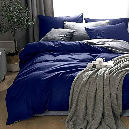 KEAYOO Bettwäsche 135x200 cm Blau + Grau 100% Baumwolle Bettbezug mit Reißverschluss 2teilig