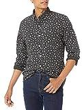 Goodthreads Men's Slim-Fit Long-Sleeve Printed Poplin Shirt, Black Heather Small Floral, Large