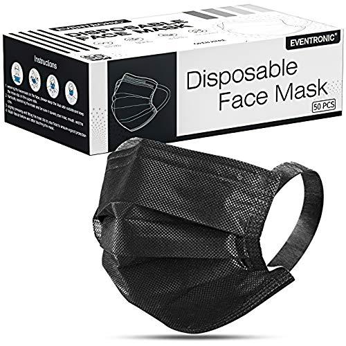 Eventronic Mask Einweg-3-Lagen-Schutzmaske, SCHWARZ, Pollenschutz, staubdicht, atmungsaktiv und komfortabel Elastische Ohrenschützer Filter Gesichtsschutz Gesichtsschutz 50-tlg