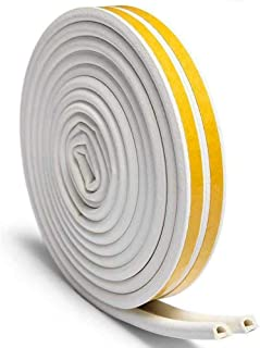 Door Weather Stripping for Doors Windows, Hawwwy 23 feet, Self Adhesive Double Seal Soundproof Weather Stripping, D Shape Strip Tape (White)