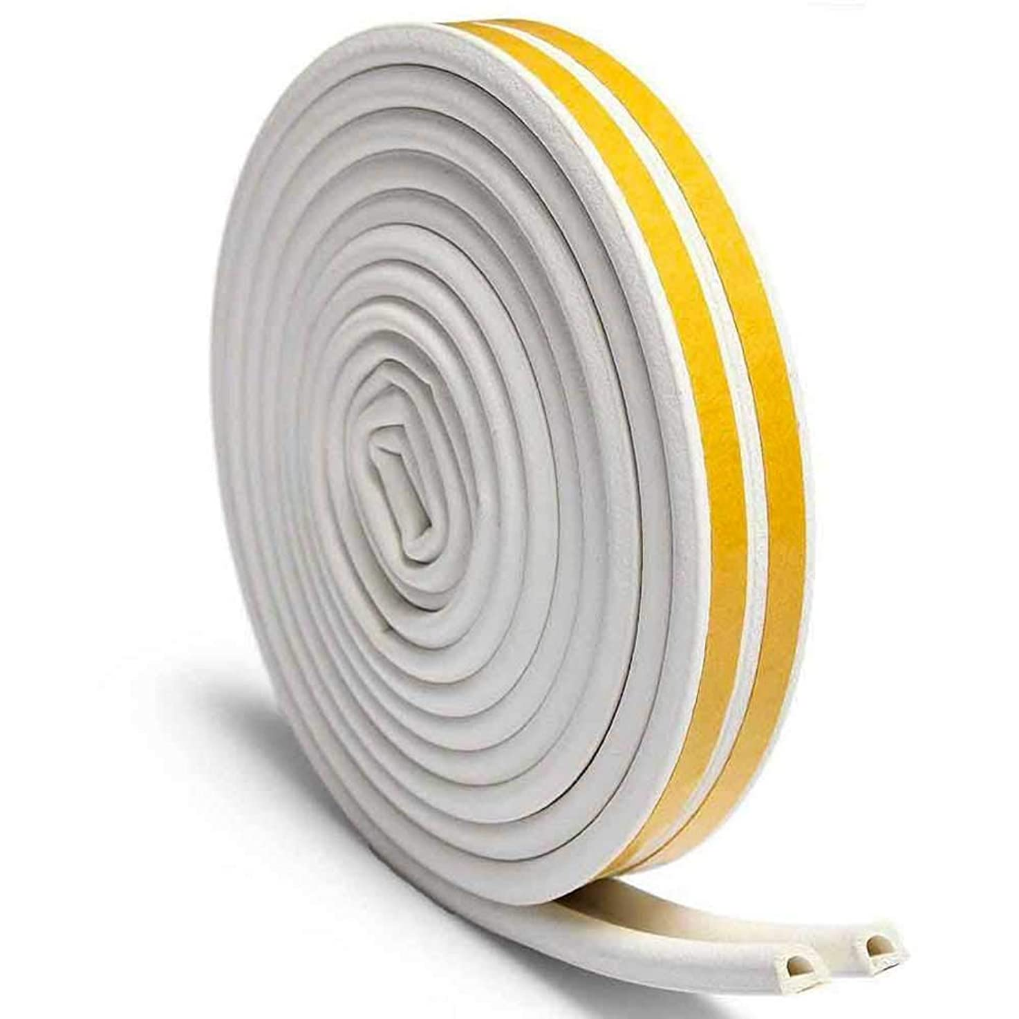 Door Weather Stripping for Doors and Windows – 23 FEET – Self-Adhesive Double Seal Soundproof Weather Stripping – D-Shape Strip Tape – White