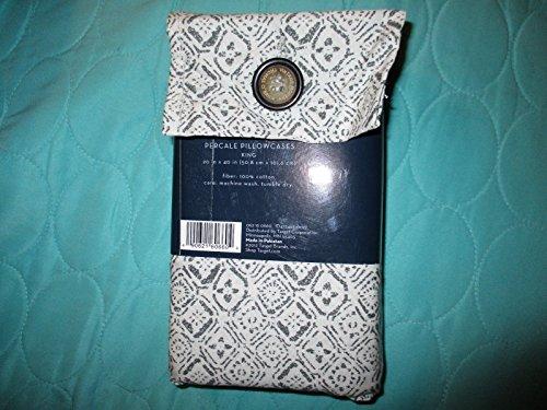 Thomas O'Brien Percale Pillowcases King 100% Cotton Charcoal/White