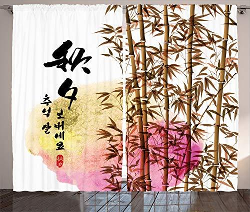 ABAKUHAUS Bambú Cortinas, Japonés asiático de bambú, Sala de Estar Dormitorio Cortinas Ventana Set de Dos Paños, 280 x 225 cm, Multicolor
