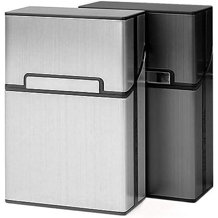 2 Pcs Lightweight Cigarette Case, Gray Silver Aluminum Cigarette Box Holder