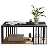 Linsy Home Industrial Black Coffee Table with Storage Shelf, 2 Tier Sofa Console Table for Living Room, Sneak Large Storage Space, Easy Assembly, LS209M3-A (Black and Wood)