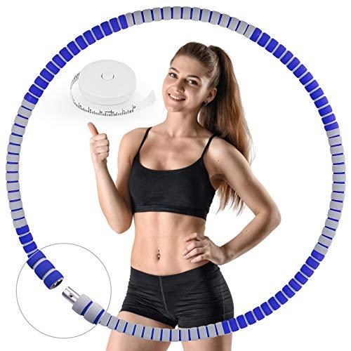HASAGEI Aro de hula hoop, para adultos, núcleo estable de acero inoxidable y 8 segmentos desmontables, diámetro de 85 cm, para principiantes y profesionales, con cinta métrica