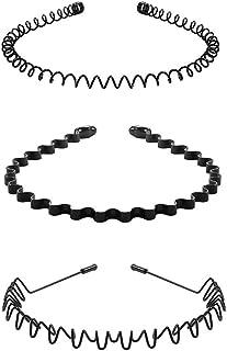 Black Metal Hair Band for Men and Women Fashion Metal Hair Hood Band Multipurpose Yoga Headband Non-slip Lightweight Unise...