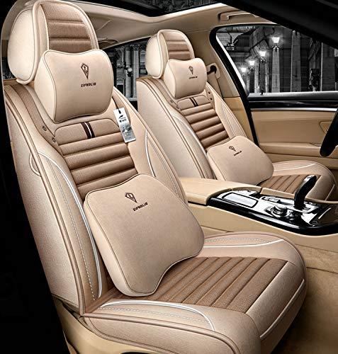 Conjunto de cubiertas de asiento de coche, cubierta de asiento Fashion Grid Slopes Cubiertas de asiento de automóvil universales Materiales de lino, conjunto de carcajadas completo,D