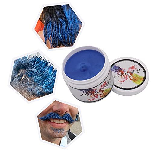 Cire Colorante Cheveux Lavable Jetable Coloration Temporaire Diy Unisexe Cire Couleur Cheveux Convient Pour La FêTe De NoëL D'Halloween-Bleu