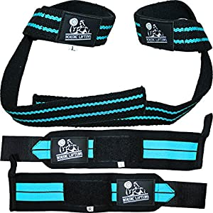Wrist Wraps + Lifting Straps Bundle (2 Pairs) for Weightlifting, Cross Training, Workout, Gym, Powerlifting, Bodybuilding – Support for Men/Women, Avoid Injury During Weight Lifting