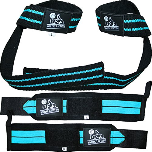 Wrist Wraps + Lifting Straps Bundle (2 Pairs) for Weightlifting, Cross...
