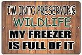 Lplpol - Cartel de aluminio con texto en inglés 'My Freezer' (texto en inglés), diseño vintage con texto en inglés 'My Freezer is Full of It', color plateado, aluminio, 1 color, 12' x 18'