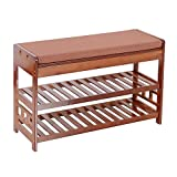 TimmyHouse Shoe Organizer Entryway Seat Storage Bamboo Shoe Rack Bench with Cushion 2 Tier