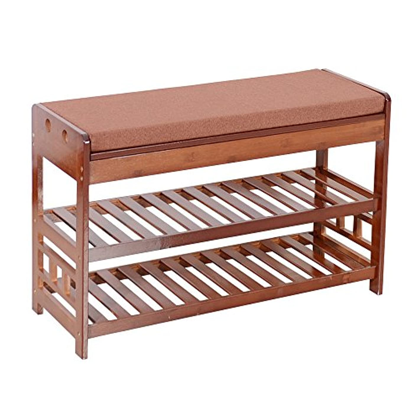 Adumly Natural Bamboo Shoe Rack Bench Entryway Organizer Cozy Seat Storage with Cushion qtxjan5466102