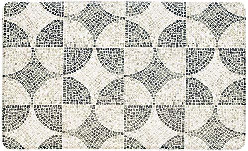 ID-Mat anti-slip tapijt, dubbelzijdig, geometrisch, PVC, taupe, blauw, 46 x 77 x 1, 2 cm