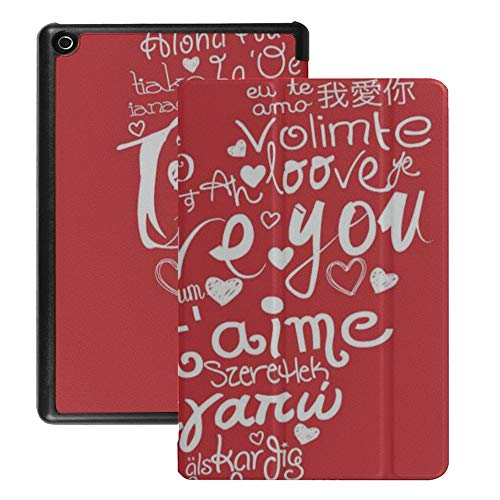 Fire Hd Kindle 8 Case Red Love Best Happiness Fire Hd 8 Case for Women (2018 2017 2016 Release,8th/7th/6th Generation) with Auto Wake/Sleep