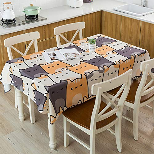 Yueyue947/Linen Cotton Waterproof Table h/Leaf Cartoon Animal Table h/Washable Table Cover Textiles/25 100X140Cm