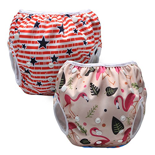 Luxja Riutilizzabile Pannolini da nuoto (Confezione da 2), Costume Pannolino Lavabili, Impermeabile Pannolino Piscina (0-3 anni), Forest Flamingo + Stelle (striscia rossa)
