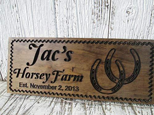 Ced454sy Gepersonaliseerd Paard Ranch Teken met Paard Schoenen Aangepaste Paard Stabiel Teken Opgericht Boerderij Tekenen Aangepaste Kunst Hout Tekenen Gift