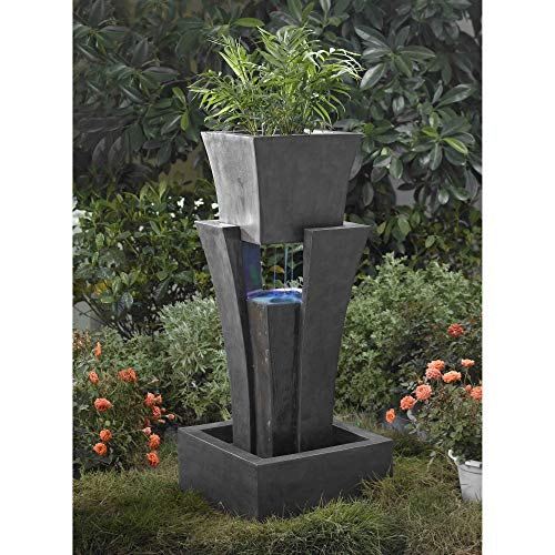 Raining Water Led Fountain with Planter Black Modern Contemporary Resin