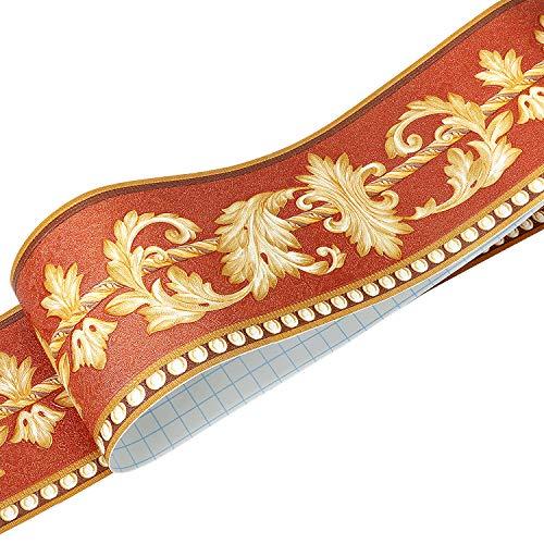 Uoisaiko 3D Gold Tapete Bordüre Küche Wandbordüre Selbstklebend Tapetenbordüre 10CM x 5M Emboss Wandbordüre Schälen und Stock Bordüren für Wohnzimmer Schlafzimmer