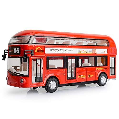 Vehículo de ingeniería 1:50 niños Open Acousto Optic Sightseeing Bus Model Alloy Double Deck Tour Bus Aire Acondicionado Bus City Boys Coche de Juguete