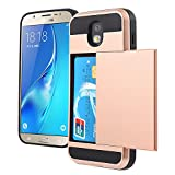 Galaxy J5 Pro Case, Wallet Design and Card Slot Holder Hidden Pocket Armor Case Rugged Hybrid Dual Layer Cover for Samsung Galaxy J5 Pro J530 2017 (Gold Rose)