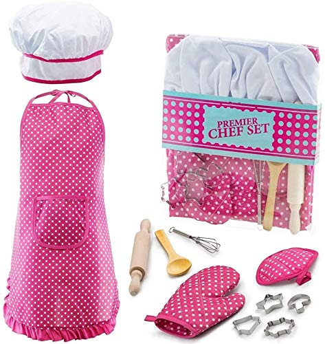 Popular Toys for 3-8 Year Old Girls Boys, Chef Costume Set for Kids Girls Cooking Game for Kids Girls Baking Set for Kids Girls Christmas Stocking Stuffer Gifts for Girls Age 3-8 Little Girl Gift-Pink
