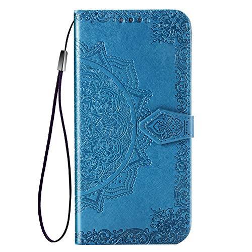 XIFAN Brieftasche Hülle für Asus Zenfone Max Pro (M2) ZB631KL, Blume Retro Prägung Premium Pu Leder Magnetisch Flip Hülle mit Standfunktion & Kartensteckplätze, Blau