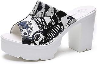 Cosplay-X Womens Platform Heels Mules Slip-On Peep Toe Chunky Stacked Block Heel Slide Sandals for Party Nightclub